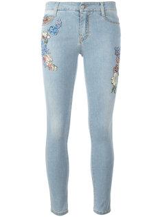 джинсы скинни с цветочными нашивками Ermanno Scervino