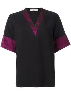 футболка с V-образным вырезом и контрастными деталями Lanvin