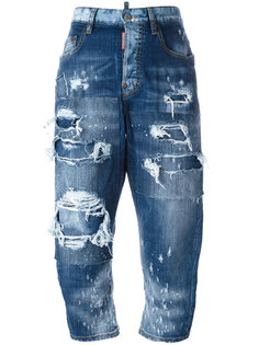лоскутные джинсы Kawaii с рваными деталями Dsquared2