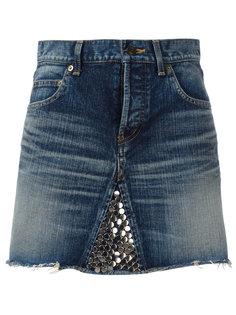 декорированная джинсовая юбка  Saint Laurent