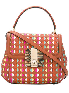 сумка-тоут в плетеными элементами Serapian