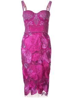 платье с цветочным принтом Marchesa Notte