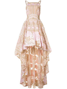 асимметричное платье с цветочным узором Marchesa Notte