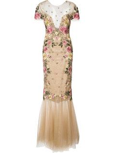 приталенное платье с цветочной вышивкой Marchesa Notte