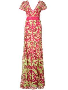 платье с аппликацией в виде птиц Marchesa Notte