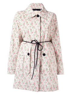 пальто с цветочным узором и поясом Moncler