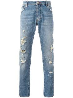 джинсы скинни с рваными деталями Philipp Plein