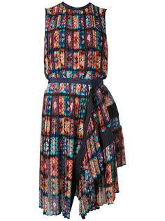 плиссированное платье без рукавов с цветочным узором Sacai
