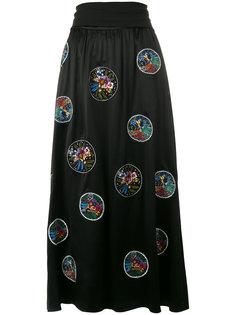 юбка с цветочной вышивкой Fendi