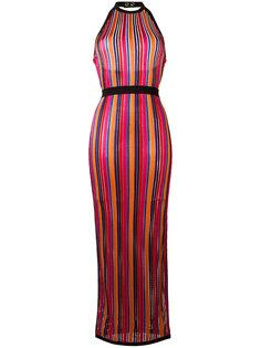 полосатое платье с контрастной окантовкой  Balmain
