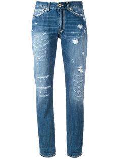 джинсы бойфренды с рваными деталями Dondup