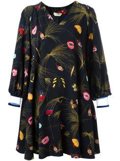 платье с цветочным узором и открытыми плечами Fendi
