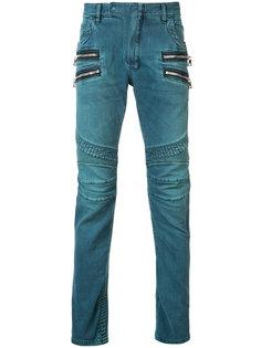 байкерские джинсы прямого кроя Balmain