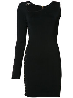 платье на одно плечо с люверсами и шнуровкой Balmain
