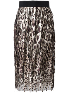 юбка миди с леопардовым узором Dolce & Gabbana