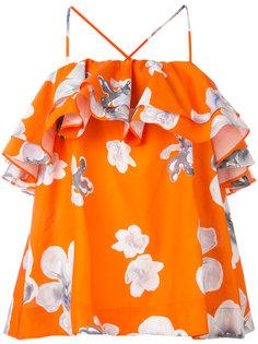 блузка с цветочным принтом и оборками MSGM