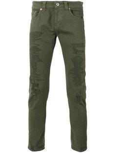джинсы скинни с рваными деталями Dondup
