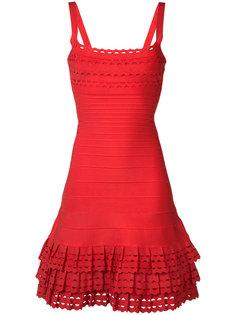 приталенное платье с оборками Hervé Léger