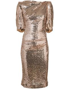 приталенное платье с эффектом металлик Talbot Runhof