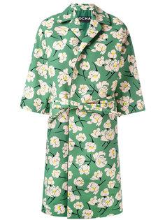 пальто с поясом и цветочным узором Rochas