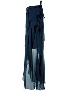 платье на одно плечо с драпировкой Alberta Ferretti