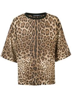 футболка свободного кроя с леопардовым принтом Dolce & Gabbana