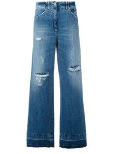широкие джинсы с протертостями Dondup