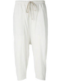 укороченные брюки с заниженным шаговым швом Rick Owens DRKSHDW