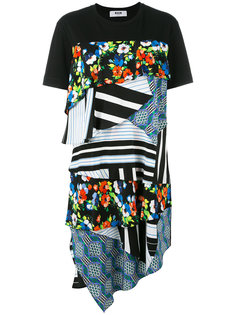 платье-футболка с комбинированным принтом MSGM