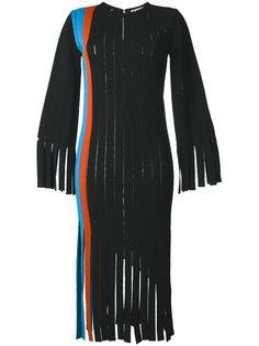 платье с вертикальными вставками и бахромой  Marco De Vincenzo