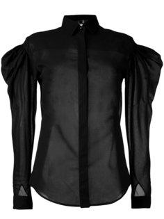 прозрачная рубашка с объемными рукавами Saint Laurent