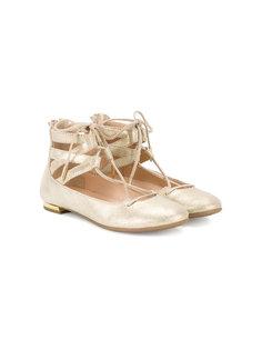 балетки на шнуровке Mini Belgravia Aquazzura Mini