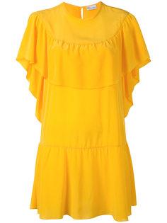 многослойное платье шифт с рюшами Red Valentino