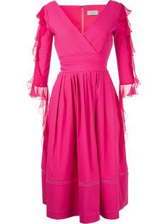 платье с V-образным вырезом и рюшами Preen By Thornton Bregazzi