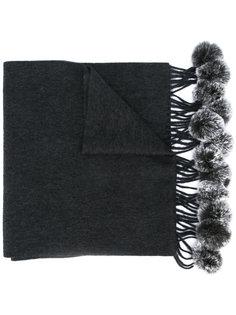 шарф с помпонами из кроличьего меха N.Peal