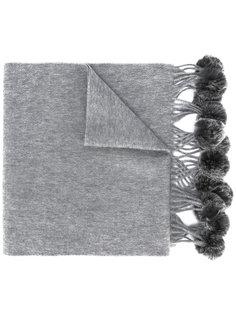 плетеный шарф с помпонами N.Peal