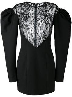 платье мини с объемными рукавами Saint Laurent