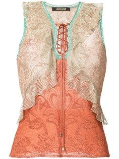 многослойная блузка с V-образным вырезом с кружевами  Roberto Cavalli