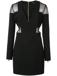 приталенное платье с прозрачными вставками Balmain