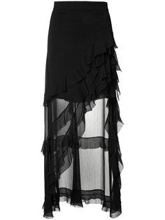 асимметричная юбка с оборчатым дизайном Alice+Olivia