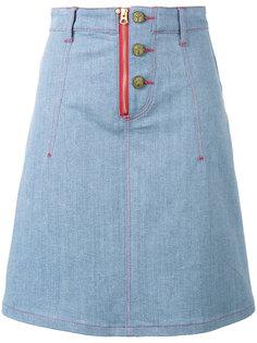 джинсовая юбка X Lee с аппликациями-сердцами House Of Holland