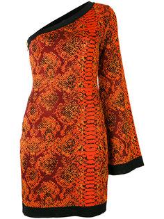 платье на одно плечо со змеиным узором Balmain