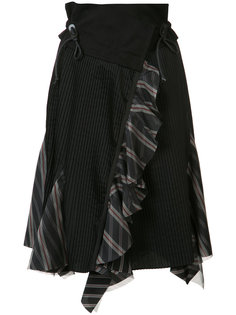 плиссированная юбка с клетчатыми вставками Sacai
