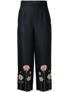укороченные брюки с цветочной вышивкой  Vilshenko