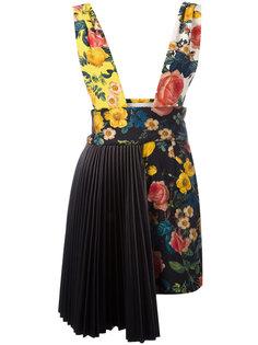 платье с цветочным узором и плиссировкой Fausto Puglisi