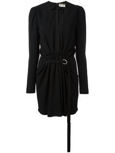 платье с V-образным вырезом и сборками Saint Laurent
