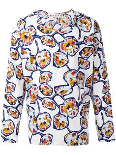 рубашка с принтом без воротника Marni