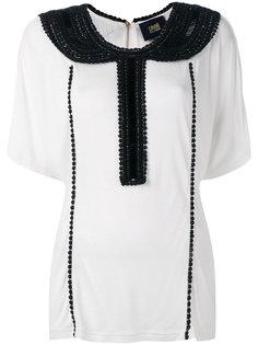блузка с вышитым бусинами воротником Cavalli Class