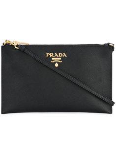 клатч с логотипом Prada