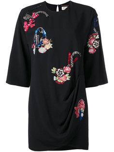 платье с цветочной вышивкой Saint Laurent